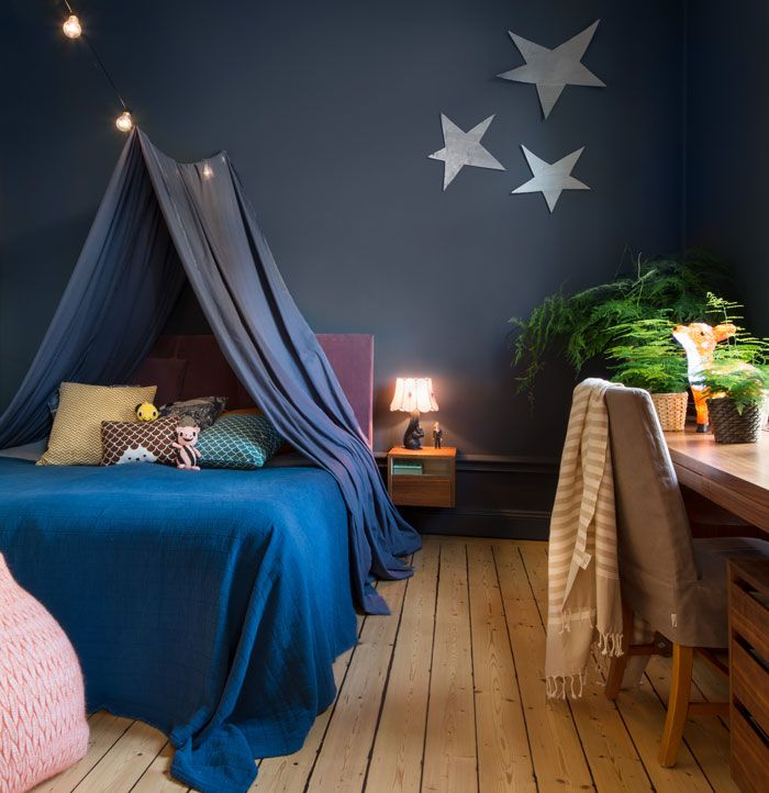 magical children's room with dark walls