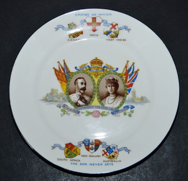 KING GEORGE V SILVER JUBILEE 1910-1935 AYNSLEY CHINA PLATE BRITISH EMPIRE FLAGS