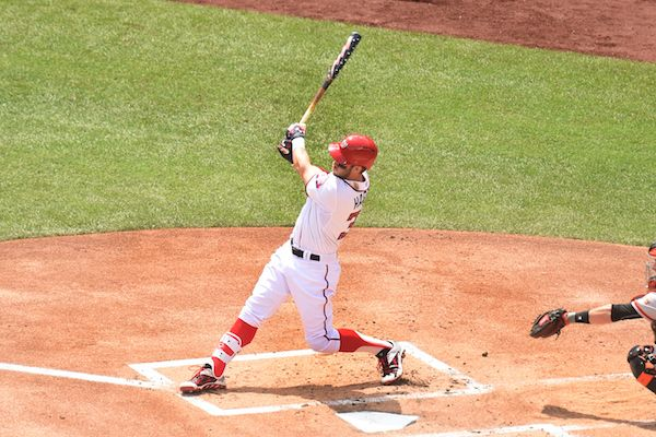 WATCH: Bryce Harper hits home run with patriotic bat | Yardbarker.com