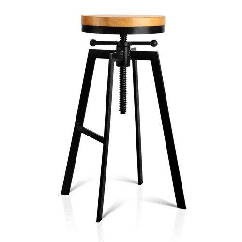 Vintage Industrial Look Adjustable Steel Swivel Bar Stool w/ Wooden Seat