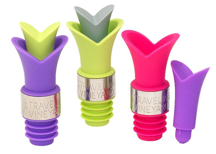 Our newest accessory item! Tulip wine pourers with stoppers!