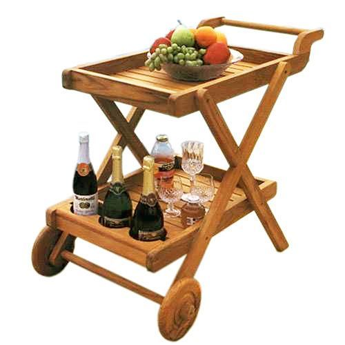 Handmade D-Art Teak Butler Serving Trolley (Indonesia) (Natural Fine Sanding)