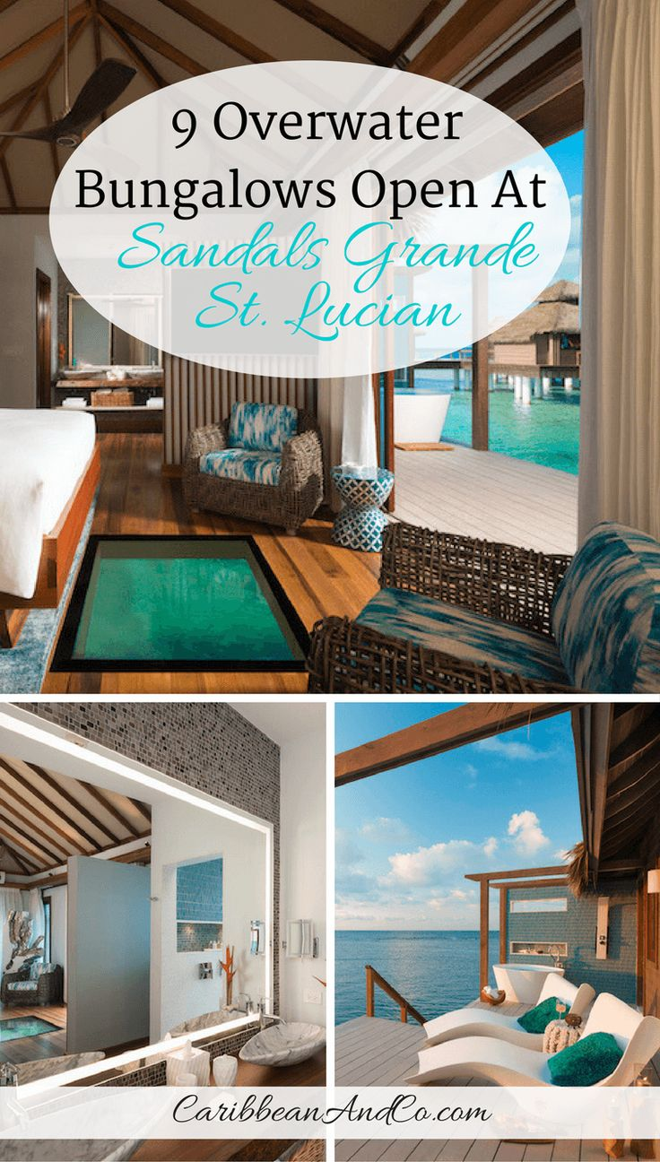 Check out the 9 Overwater Bungalows that are now available to guests at the popular and luxurious hotel Sandals Grande St. Lucian on the beautiful and romantic Caribbean island of St Lucia.