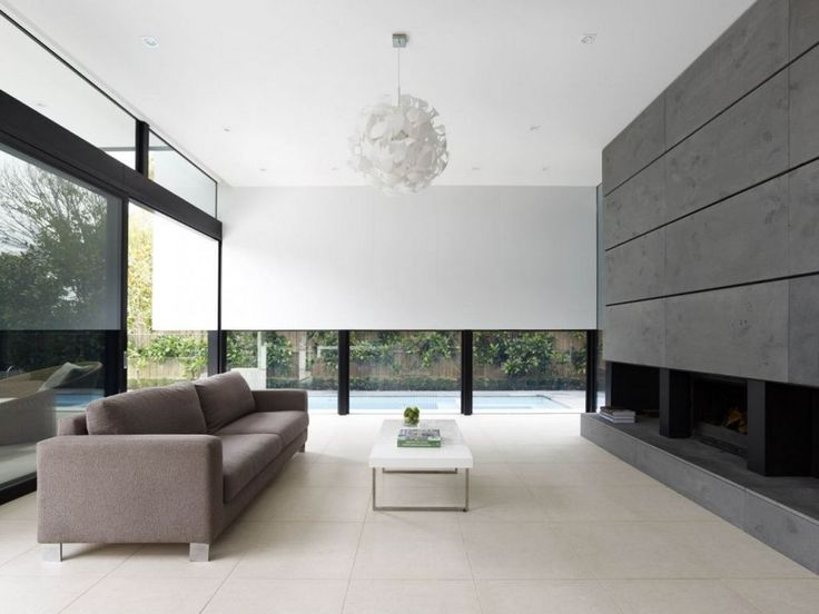 Charming Simple Home Interior Design Ideas White Ceramic Floor Varnished  Wooden Table And Gray Wall Brown Fabric Sofa Modern Pendant Lamp Glass  Window With ...