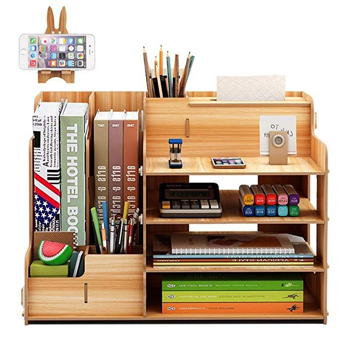 Amazon Com Foccts Wooden Desktop Organizer Office Supplies Storage Wooden Desk Organizer Home Office Sup In 2020 Desktop Organization Office Supply Storage Storage