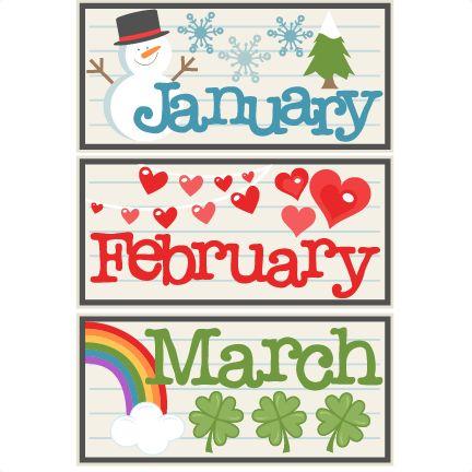 January February March Titles SVG scrapbook cut file cute clipart files for silhouette cricut pazzles free svgs free svg cuts cute cut files