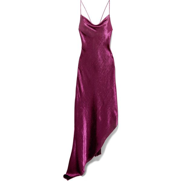 Juan Carlos Obando Asymmetric metallic stretch silk-blend maxi dress ($1,265) ❤ liked on Polyvore featuring dresses, juan carlos obando, asymmetrical hem dress, lily dress, purple dresses, drape dress and laced dress