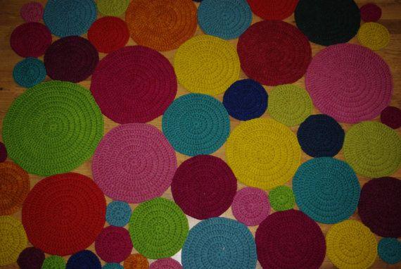 Crochet Square Rug/Rectangular Rug 160 cm/125 by AnuszkaDesign, $180.00