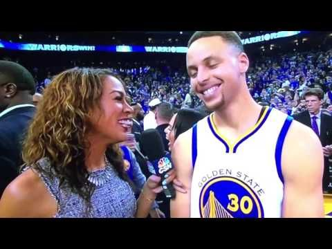 Golden State Warrior's Stephen Curry Historic interview interrupted by H...