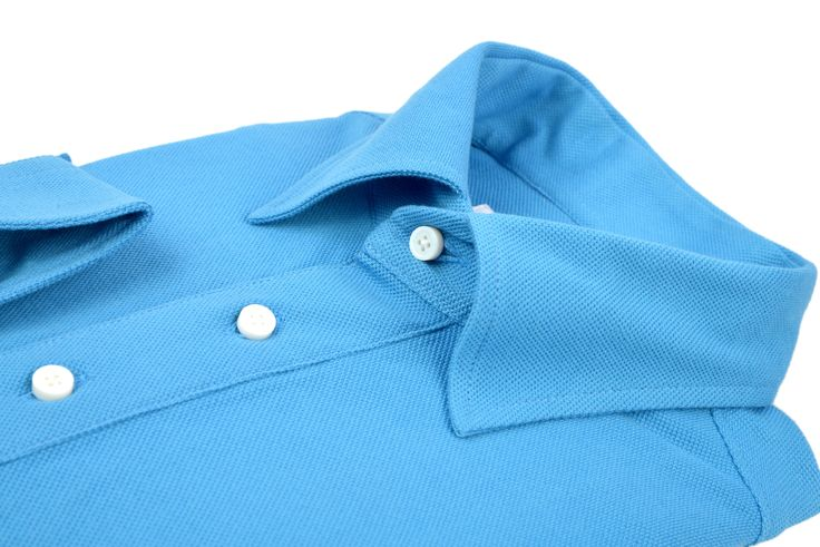 Luxire bright blue knitted pique long sleeve Polo shirt with custom 2-piece collar  http://custom.luxire.com/products/blue-knitted-pique