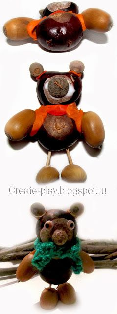 мишка из природных материалов