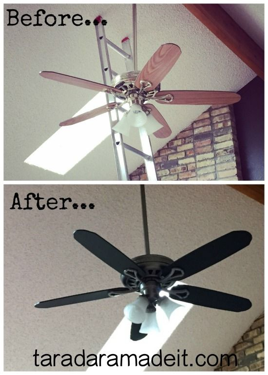 Be sure to check out how to update your ceiling fan before spending $100+. Paint it in under 3 hours. #diy