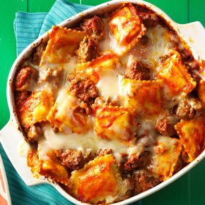 Ravioli Lasagna Recipe -When you taste this casserole, you'll think it came from a complicated, from-scratch recipe. Really, though, it starts with frozen ravioli and has only three other ingredients. —Patricia Smith, Asheboro, North Carolina