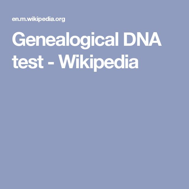Genealogical DNA test - Wikipedia