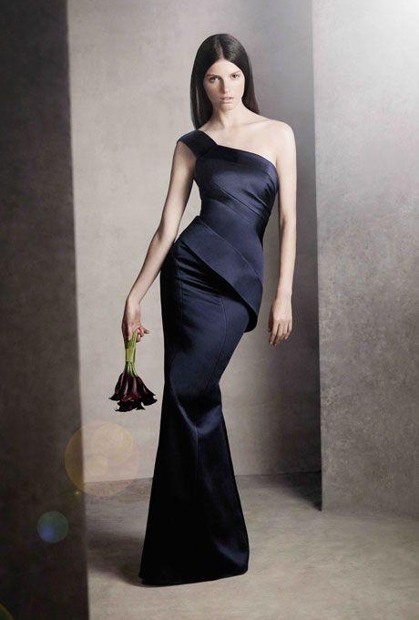 Brides.com: Navy Blue Bridesmaid Dresses | Vera Wang at David's Bridal - Click to view more styles