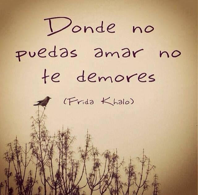 Donde no puedas amar, no te demores #FridaKahlo