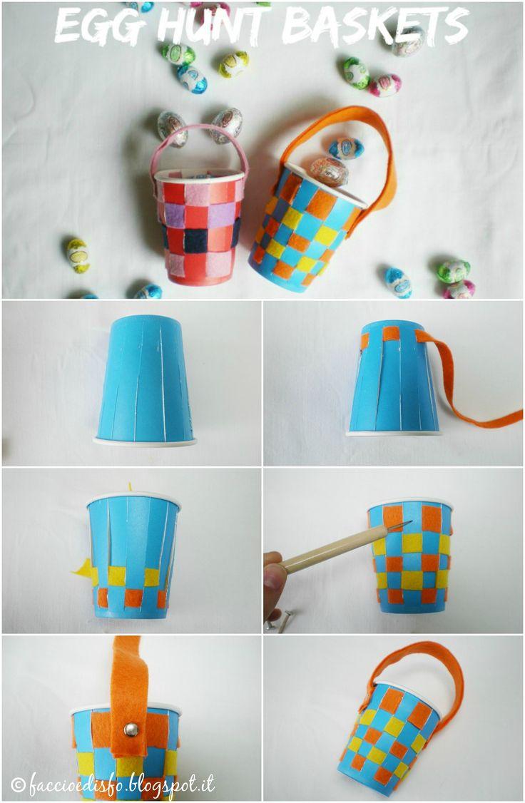 Faccio e Disfo - cestini pasquali fai-da-te con bicchieri di carta e feltro. Egg hunt baskets with paper glasses and felt