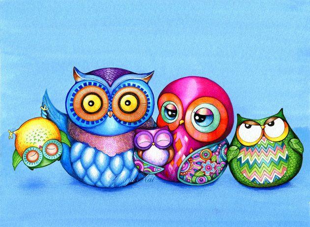 Owl Family Portrait - Funny Family Photo - NEW Owl Illustration Print by Annya Kai - Modern Colorful Owl Art. $18.95, via Etsy.