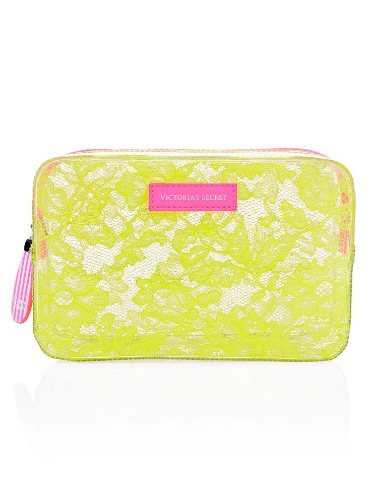 Victoria's Secret lace-adorned plastic cosmetics case ($14, originally $18) - Bachelorette party packing essentials