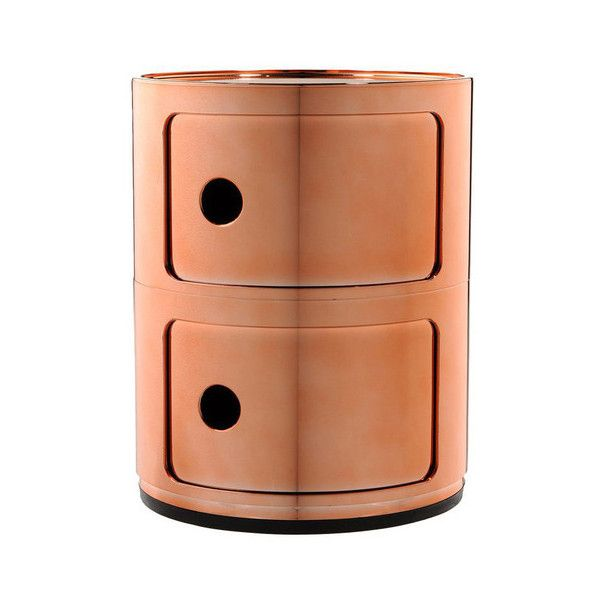 Kartell Componibili Storage Unit - Copper - Small ($300) ❤ liked on Polyvore featuring home, furniture, storage & shelves, metallic, kartell furniture, kartell, metallic furniture, copper furniture and colored furniture