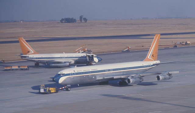 South African Airways Boeing 707 and 737 aircraft at Jan Smuts Airport, between Johannesburg and Pretoria, South Africa.
