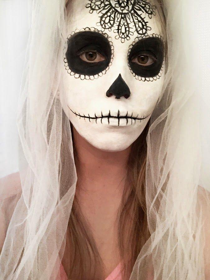 Sugar skull face on Pinterest | Sugar skull face paint, Skull face ... Sugar Skulls Face Paint Black And White