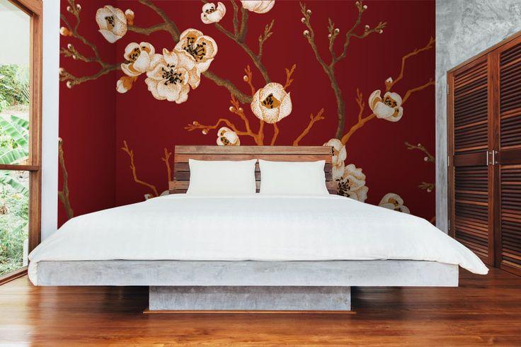 Japanese Flowers Wall Mural #wallmural #wallpaper #floral #flower #interiordesign #romantic #japanese