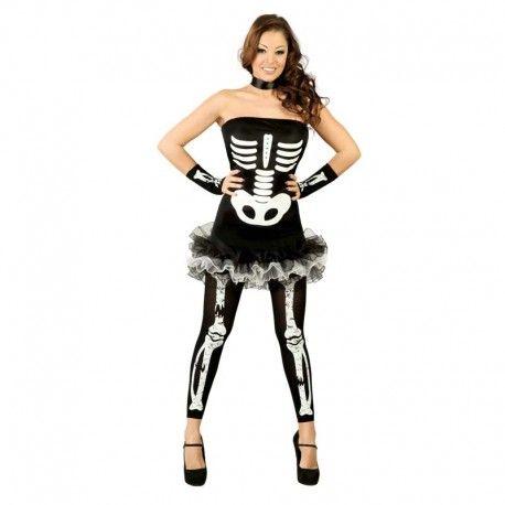 Disfraces Halloween mujer | Disfraz de esqueleto. Contiene vestido serigrafiado con falda de tules y leggings con huesitos estampados. Talla M. 19,95€ #esqueleto   #disfrazesqueleto #disfraz #halloween #disfrazhalloween #disfraces
