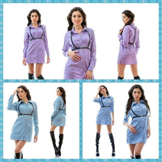3 отметок «Нравится», 1 комментариев — Стильная Женская Одежда™ (@shop_of__your_dream) в Instagram: «Платье-рубашка в клеточку 🌞🌱 Размер: s m l Состав: стрейч коттон  Цвет: синий, красный, голубой…»