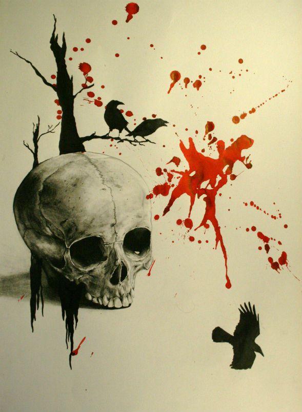 dessin pour tatouage de crane réaliste avec style graphique et corbeaux