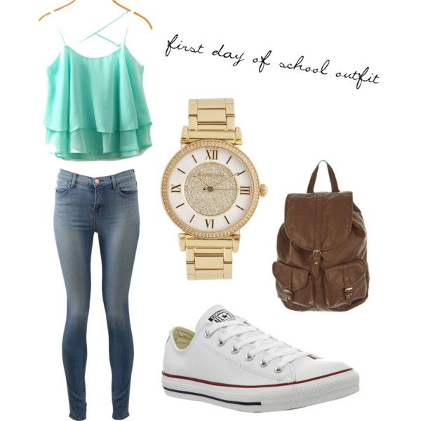 first day of school outfit by demorilized-personage on Polyvore featuring polyvore fashion style J Brand Converse Michael Kors