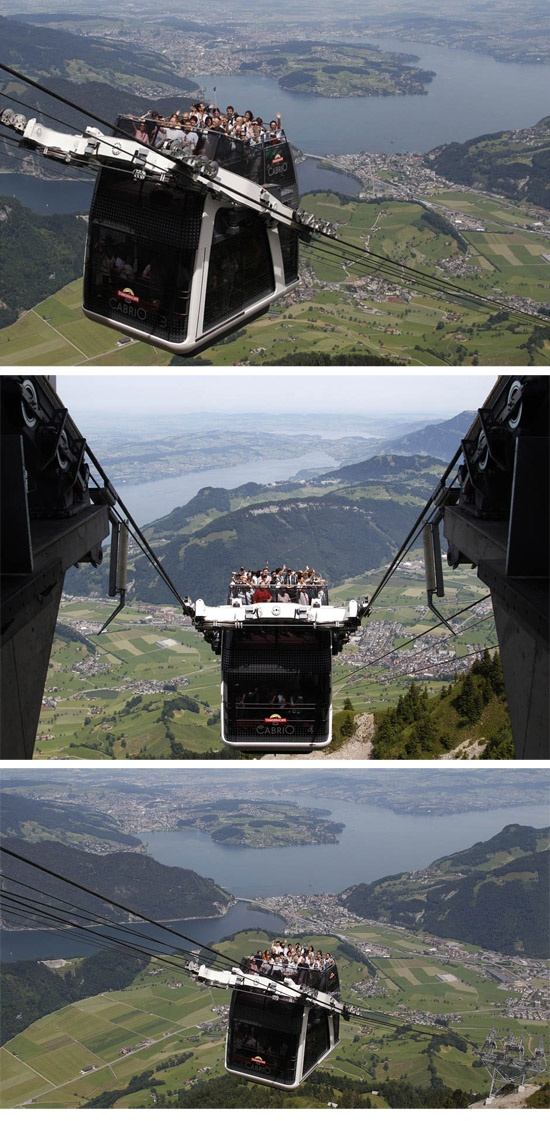 World's first convertible cable car not for the faint of heart ( Swiss Alps http://news.nationalpost.com/2012/06/28/worlds-first-convertible-cable-car-not-for-the-faint-of-heart/  )