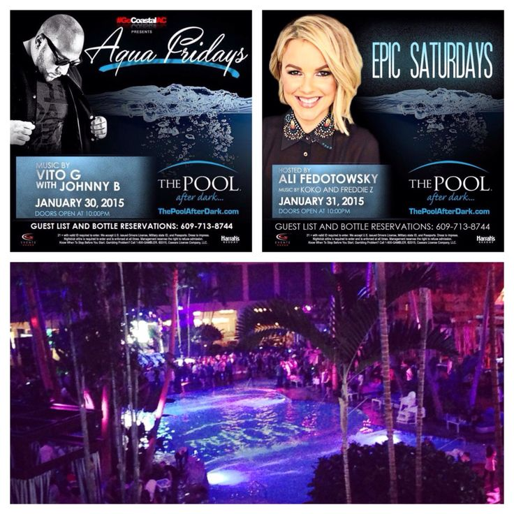 """This Weekend at The Pool After Dark-Harrah's Resort Atlantic City!  Friday, 1/30 - Music by DJ Vito G and DJ Johnny B. Say """"PHIL M"""" at the guest list table from 10PM-12AM for Free Admission. ---------- Saturday, 1/31 - Hosted by ALI FEDOTOWSKY (TV Personality - The Bachelor, The Bachelorette & E! News) with DJ Koko and DJ Freddie Z. Say """"PHIL M"""" at the guest list table from 10PM-12AM for Reduced Admission. ---------- Contact 609-713-8744 for Guest list, Bottle Service & Discounted Rooms."""