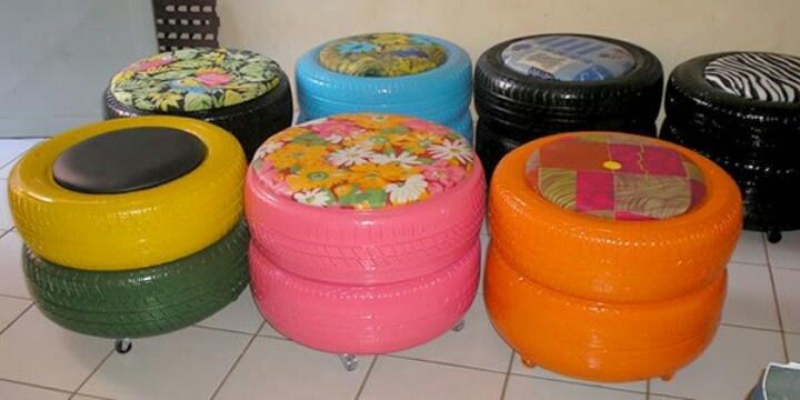 Usa neumaticos para hacer sillones llantas reciclar for Mesas con neumaticos