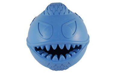 Jolly Pets Monster Rubber Ball Bounces Hide Treats Dog Toy 2.5 in Blue