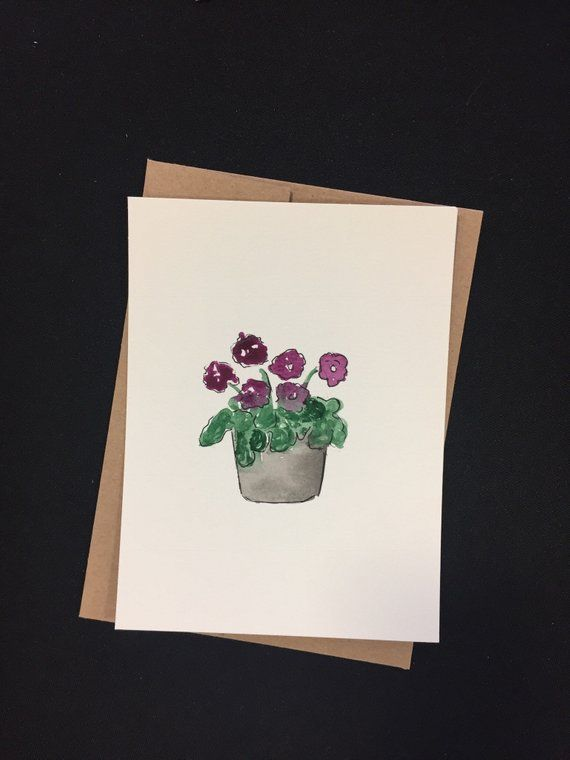 Customized Watercolor Cards With Purple Flowers Just Because