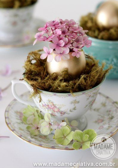 Golden eggs shell turned into small hydrangeas vases - Inexpensive centerpiece for easter just to decorate the house - DIY tutorial - Easter...