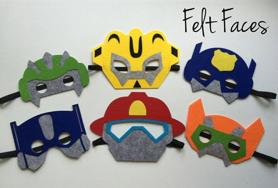 This listing is for a set of 6 Rescue Bots Party masks, 1 of each style. Each mask is made with premium felt, with a black elastic band sewn to each side of the back.  These adorable party masks are great for any Rescue Bots themed party, or for playing dress up.  The shipping used on this listing is USPS Two Day Priority. Masks are $2.50 each, sold in all quantities. For special quantities, message me, Ill be glad to make you a custom listing.