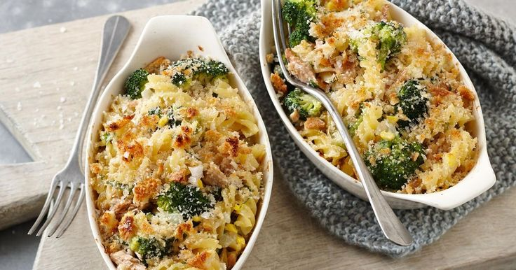 Give tuna pasta a fun twist by baking it into little pies. (It's also a great way to get the kids to eat their veg.)
