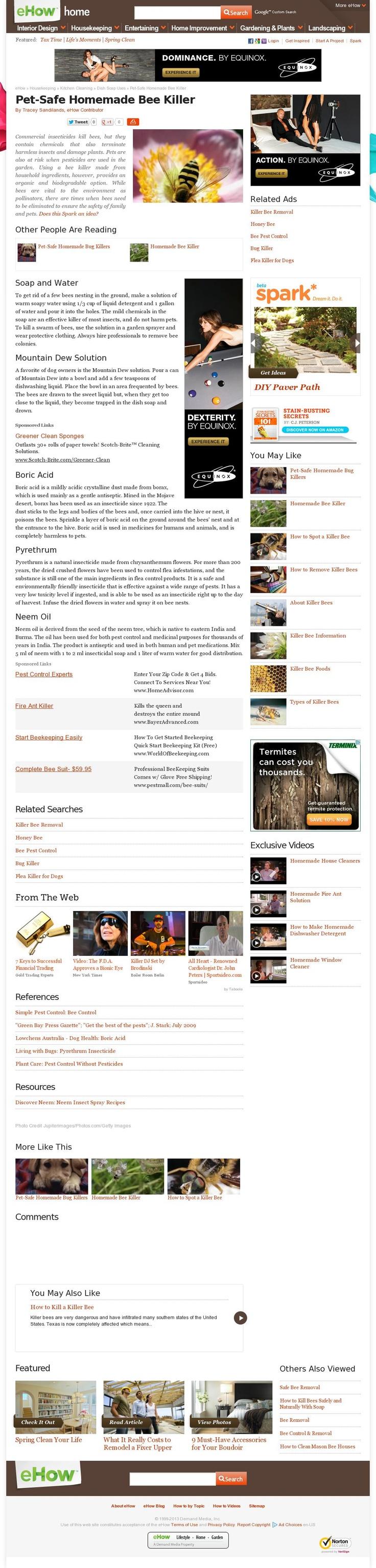 The website 'http://www.ehow.com/info_8567859_petsafe-homemade-bee-killer.html' courtesy of @Pinstamatic (http://pinstamatic.com)
