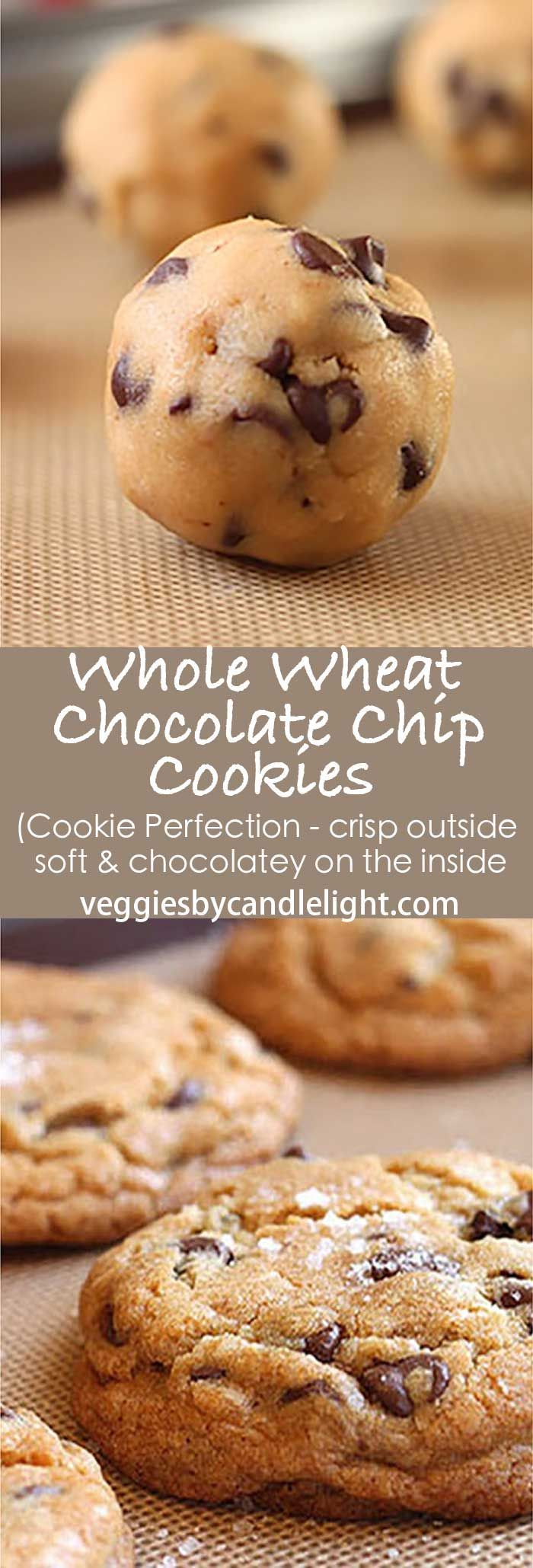 Whole Wheat Chocolate Chip Cookies - Hands down .. my favorite chocolate chip cookie. Baking up fat and tall, with a crisp, almost crust-like exterior .. on the inside, they're soft, with chocolate in every bite