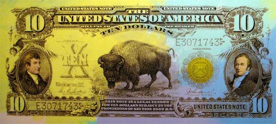 Steve Kaufman > 1901 Ten Buffalo Dollar I  #stevekaufman #popart #bill #canvas #silkscreen #fineart #prints