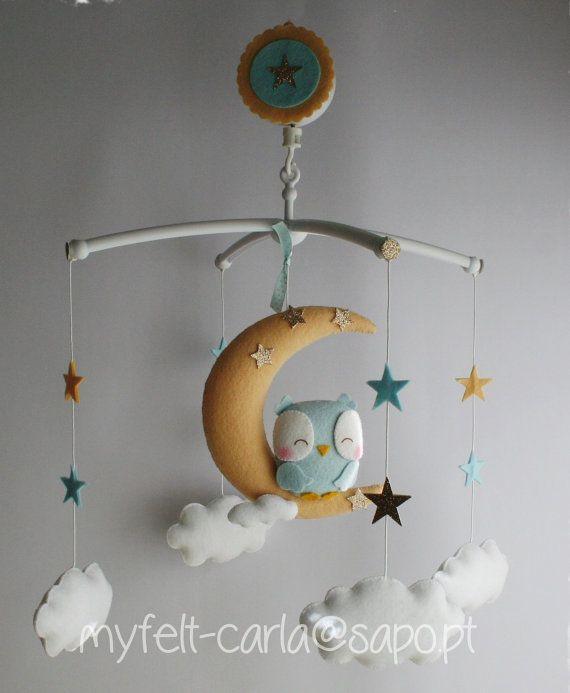 Mobile Bébé Mobile Hibou en la Lune Étoiles Cadeau Fille par myfelt