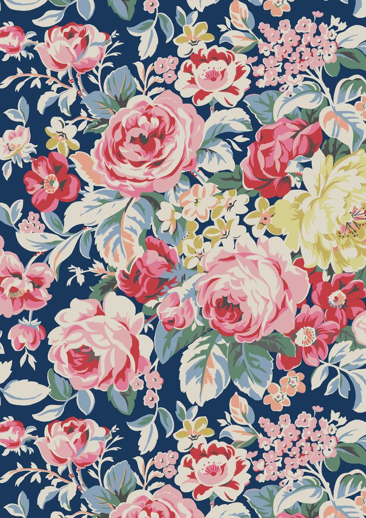 Greenwich Rose | A stunning, incredibly detailed interiors print from our archive, this season we've reimagined Greenwich Rose in two striking colourways for fashion and accessories. The print has the look of a flowerbed densely planted with beautiful blooms | Cath Kidston SS16
