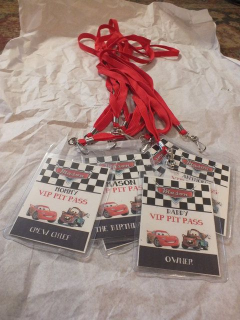 VIP passes at a Disney Cars Birthday Party! See more party ideas at CatchMyParty.com