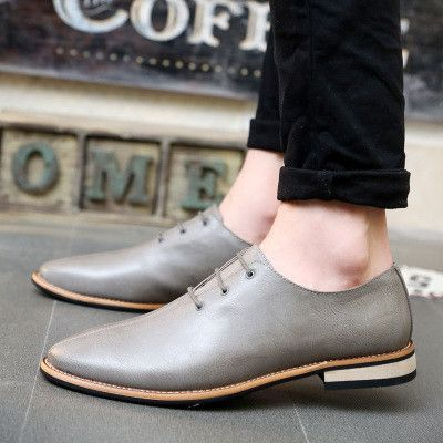 Shoes - Grey Lace up Leather Loafers for Men