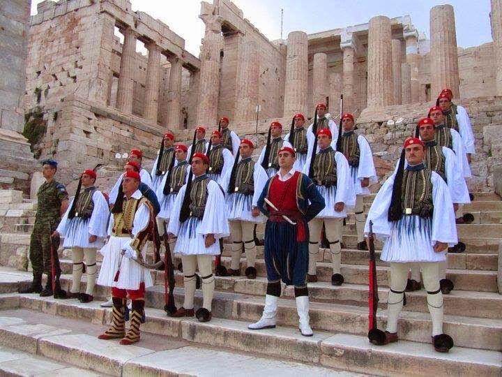 Evzones with Cretans on top of Acropolis.