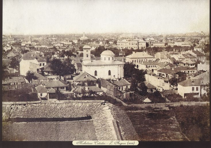Ludwig Angerer - Calicilor Slum in 1856 with Spirea Veche church, demolished by N Ceausescu for the construction of the actual Romanian Parliament. In the background we can see Brancoveanu-Bibescu Palace (demolished in 1912).