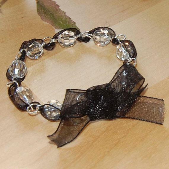 Swarovski bracelet with organza ribbon. - via Etsy.