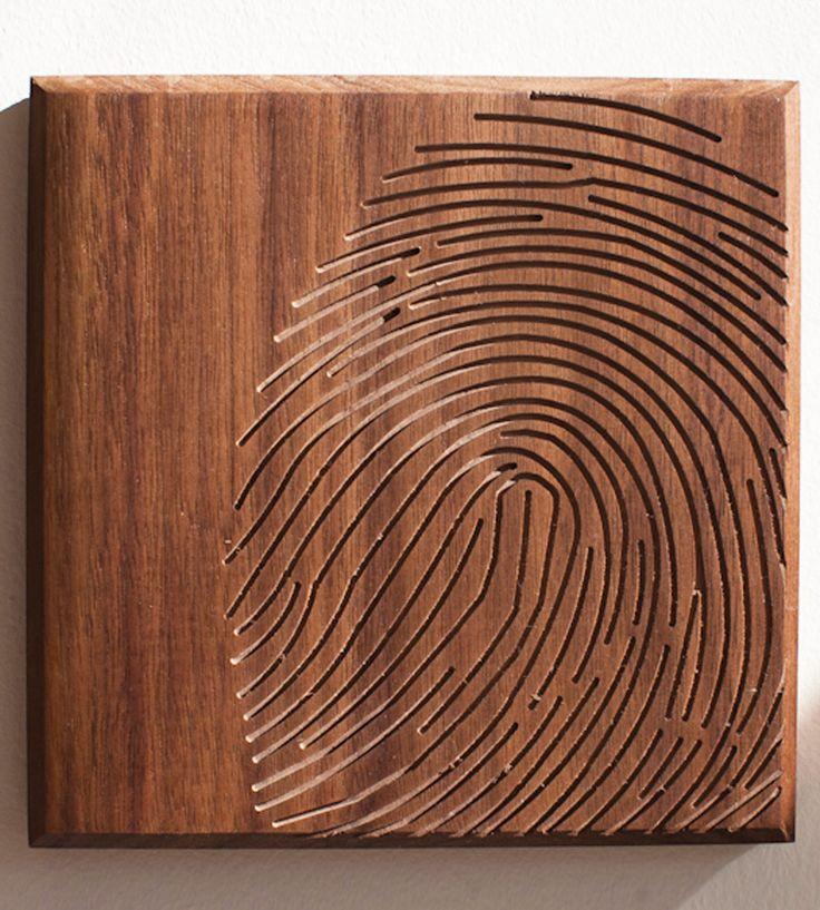 Fingerprint Wood Art to do with wood burning